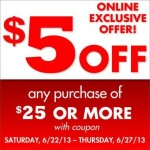 $5 off any $25 Purchase at Family Dollar!