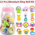 Big Dragonfly High Quality 12 Pcs Cartoon Hand Ring Bell and Green Teether for Infants Fun Educational Toys for Baby Exquisite Box Package Colorful